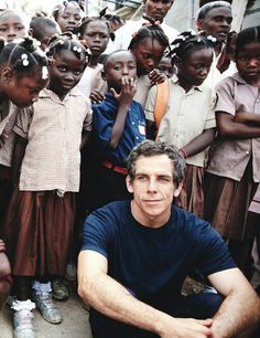 Ben Stiller with students at the reopening of Haiti's Cévérine Community School in 2011. Photo: Randall Slavin