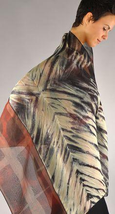reversible silk organza shibori shawl in reds a cremes. http://michaelkanestudio.com