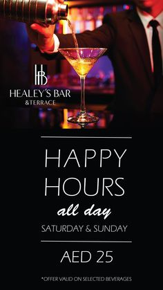 #HappyHour at #HealeysBar is now even happier! All day happy hours every Saturday & Sunday! Click the pin for more info.