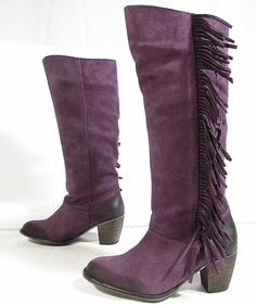 "BUFFALO ""Fransen"" stivali cowboy boots biker pelle di camoscio (viola) Nuove ~ Utterly incredible.  I LOVE these, but SADLY too small a size!!!   :""(    :""(    :""(    :""(    :""(    :""("
