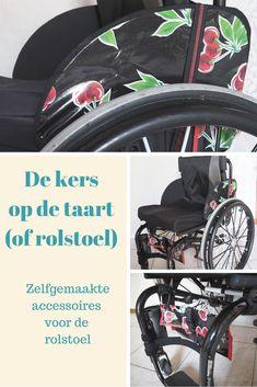 Zelfgemaakte hoesjes voor de jasbeschermers van mijn rolstoel + matchend tasje van tafelzeil met kersen.