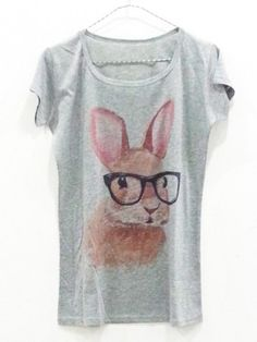 rabbit tee| $6.78  kawaii fairy kei hipster ulzzang gyaru fachin tshirt top tee bunny under10 under20 under30 free shipping rosegal