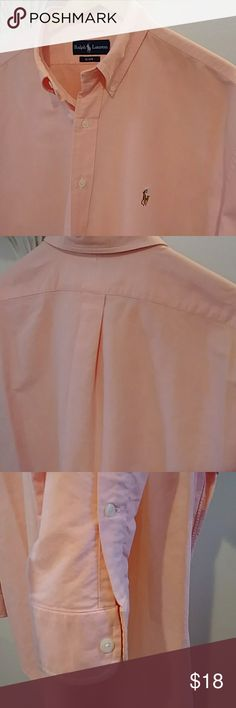 Polo Ralph Lauren 18-37 This peach/salmon color Ralph Lauren shirt is for the big and tall guys. 18 inch neck with a 37-inch sleeve. Well kept very minimum wear! Great for the office or casual attire. Polo by Ralph Lauren Shirts Casual Button Down Shirts