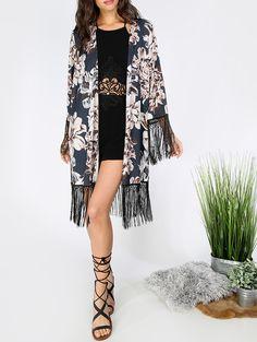 #AdoreWe #ROMWE Kimonos - Designer ROMWE Multicolor Long Sleeve Floral Print Tassel Kimono - AdoreWe.com