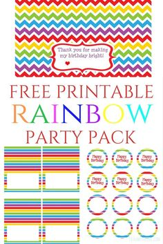 Free Printable Rainbow Birthday Party Pack- Food Tents, Bag Toppers and Cupcake Toppers