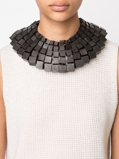 Monies cube bead wide necklace