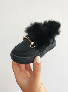 e4872d32636 Itty Bitty Black Fur Loafers