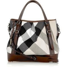 Burberry Large Lowry canvas bag ($905) found on Polyvore featuring bags, handbags, shoulder bags, purses, burberry, borse, women, colorful purses, multi colored handbags and multi color handbag
