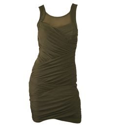 Bardot Khaki Saturn Wrap Dress