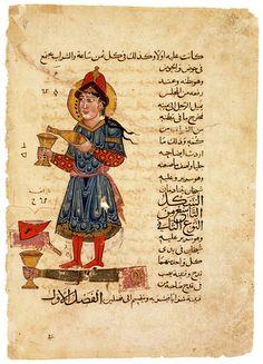"Miniature from a copy of al-Jazari's _Kitab fi marifat al-hiyal al-handasiyya_. ""Machine Pouring Wine"""