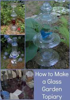 glass totem tutorial My Repurposed Life- How to make a glass garden totem (topiary) Glass Garden Flowers, Glass Garden Art, Glass Art, Glass Glue, Roses Garden, Art Flowers, Sea Glass, Garden Crafts, Garden Projects