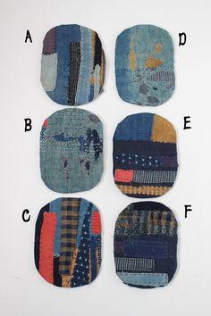 Boro coaster/Japanese/antique/cotton/kimono/remake/indigo/sashiko