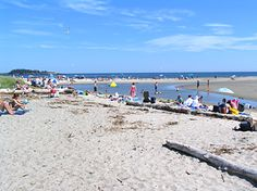 """Popham Beach State Park. Long sandy beach!  """"Picnic tables and charcoal pits, as well as a bathhouse with freshwater showers, are available in the wooded section of the park."""" www.boothbayharborblog.com"""