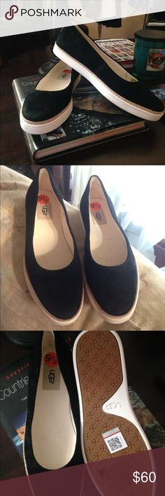 New Ugg suede slip ons. Beautiful, never worn, black slides. Suede upper, wool heel lining over 10mm PORON/cushioning foam insole lined with a jersey cotton blend leather welt molded outsole. UGG Shoes Flats & Loafers