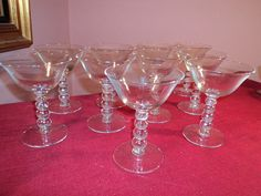"Set of ELEVEN 11 Vintage 1940s Candlewick style 4 Ball Stem Crystal Sherbet Wine Cordial Champagne Glass Glasses 5"" Tall elegant Stemware Ex"