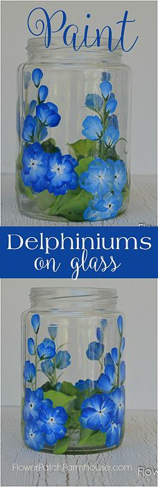 Paint Delphiniums on Glass - Beautiful blue flowers hand painted on glass one easy stroke at a time. Easy enough for the beginner and so much fun. Decorate mason jars into fun summer luminaries, make them into candles, DIY tiki torches or even use for s Painted Glass Bottles, Painted Wine Glasses, Painted Jars, Wine Bottle Crafts, Jar Crafts, Wine Bottles, Bottle Painting, Bottle Art, Painting On Glass Jars