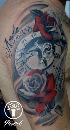 Clock and rose tattoo by Piotr Availability ay Holy Trinity Tattoo Studio Clock Tattoo Design, Flower Tattoo Designs, Tattoo Designs Men, Clock And Rose Tattoo, Clock Tattoo Sleeve, Rose Tattoos For Men, Tattoos For Guys, Dope Tattoos, Owl Eye Tattoo