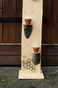 Deko - Holz - Säule - Accessoires - Cup / Handgemacht