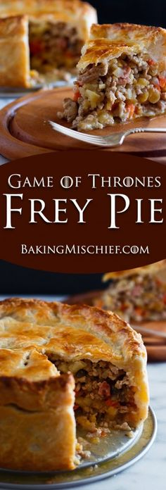 Make your very own Game of Thrones Frey Pie, with carrots, parsnips, turnips, mushrooms, bacon, and ground PORK wrapped in a delicious buttermilk pie crust. Recipe includes nutritional information. From BakingMischief.com