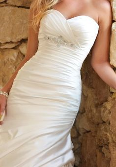 Gown features beading and Diamante crystals.