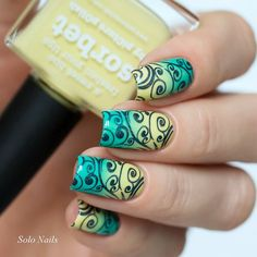 Yellow to blue gradient and I think shimmer stamping