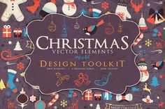 All your Christmas design elements are right here | Check out Christmas Elements Toolkit by Zeppelin Graphics on Creative Market