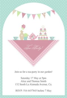 """Garden tea party"" printable invitation.  fiesta de te. personalizable."