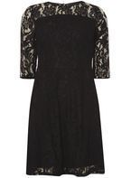 Womens Black Lace Fit and Flare Dress- Black