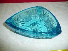 Antique Glass Ashtrays | Details about Vintage Blue Triangle Cut Glass Ashtray Retro Modern bl