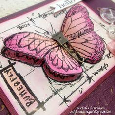Richele Christensen: Butterfly Hello Card http://californiaartgirl.blogspot.com/2013/04/butterfly-hello-card.html