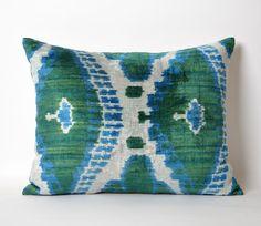 Blue Green Velvet Ikat Pillow Cover - Decorative Couch Pillows Accent Pillow Silk Velvet Ikat Seat Cushion Ikat Velvet Pillow - Ikat Throw