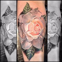 Pink flower tattoo on leg.. Click on the pic for more #tattoos