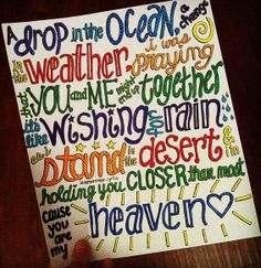 A Drop in the Ocean Lyric Art by samonstage on Etsy, $5.00