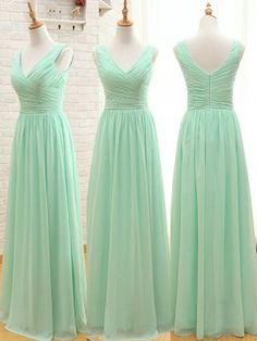V-neck Chiffon Floor-length Ruffles Sage Fabulous Bridesmaid Dresses - dressesofgirl.com
