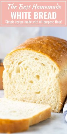 bread recipes homemade \ bread recipes + bread recipes homemade + bread recipes easy + bread recipes easy no yeast + bread recipes homemade easy + bread recipes no yeast + bread recipes without yeast + bread recipes artisan Soft Bread Recipe, Easy White Bread Recipe, Homemade White Bread, Easy Bread Recipes, Baking Recipes, Amish White Bread, Sliced Bread Recipes, White Bread Recipes, Homemade Breads