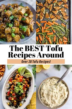 Over 20 of the BEST tofu recipes on the internet! You'll find some great tofu dinner recipes to try that will make you fall in love with this meatless option! Tofu Dinner Recipes, Best Tofu Recipes, Vegetarian Dinners, Vegan Recipes Easy, Breakfast Recipes, Vegetarian Recipes, Cooking Recipes, Tofu Dessert, Tofu Chicken