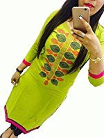 Selfie style Trendy Parrot color Georgette Embroidery semi stitched kurti