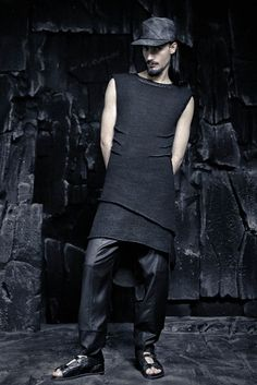 SS16 CRUST OF MOON Dark Fashion, Urban Fashion, Mens Fashion, Cuffed Pants, Men's Collection, Ss16, Black Silk, Artisan, High Neck Dress