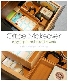 One Room Challenge Office Makeover {Week Two} Office Makeover- Easy Organized Desk Drawers- Satori Design for Living I Heart Organizing, Organizing Drawers, Organizing Ideas, Organization Station, Home Office Organization, Space Crafts, Craft Space, Organized Desk, Best Home Office Desk