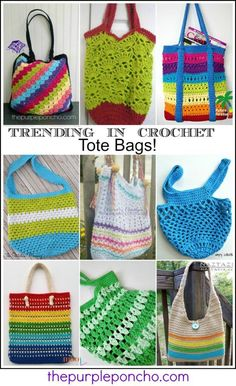 Trending In Crochet – Tote Bags! Get these pattern links on The Purple Poncho.