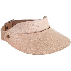 Tooled Floral Leather Visor ($155) ❤ liked on Polyvore featuring accessories and sun visor