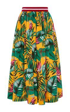 Stella Jean Ruvida Leaf Print A Line Midi Skirt $335
