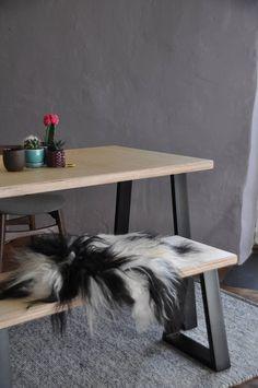 Industrial Dining Table & Bench Trapezium Steel Legs Custom