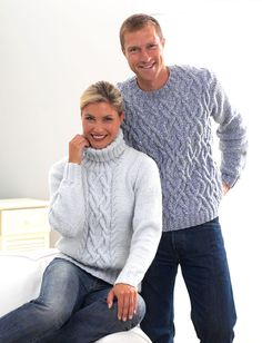 His and Her Aran Knits by Bernat Design Studio - free