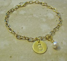 gold initial charm bracelet by juliethefish on Etsy