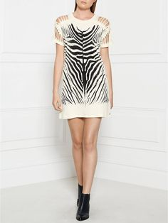 DIESEL Slash Sheer Zebra T-Shirt Dress