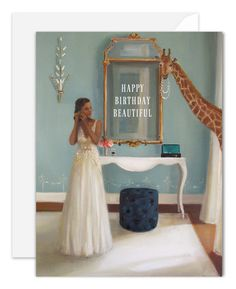 Lady In Waiting. Birthday Card by Janet Hill