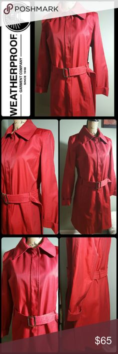 Weatherproof Garment Company Trench Coat Weatherproof Garment Company Brand, Stunning Red Trench Coat in Like New Condition! Trendy in Silver Tone Belt Buckle for Those Rainy Outdoors! Front Snap Buttons but Also has Zipper Up option for Closure! Mint Condition! Weatherproof Jackets & Coats Trench Coats