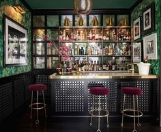 """If you've turned to drink to muddle through what remains of 2020, you're among friends. """"We're seeing clients make space for a home bar even if one didn't exist before,"""" says Dallas designer Jean Liu, whose friend stuck one in a coat closet as COVID-19 descended. #bar #homebar #home #interiordesign #luxury #decor #interiors #design #wallpaper #furniture #elledecor Elegant Home Decor, Elegant Homes, Design Studio, House Design, Restaurants, Mirror Backsplash, Famous Interior Designers, Upstairs Bedroom, Celebrity Houses"""