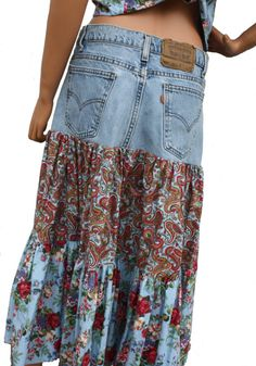 Custom Upcycled Denim Skirt Tiered Womens Skirt Handmade Boho Hippie Clothes Made from YOUR Own Jeans